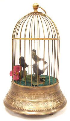 3 ANIMATED SINGING BIRD in a BRASS CAGE MUSIC BOX