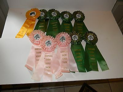 Vintage 1975 Hanford Farm Horse Show Clip On Pin Ribbons Pink Yellow Green