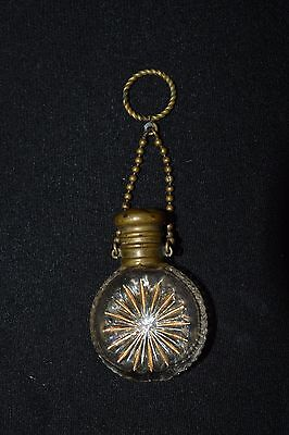 Victorian Chatelaine Scent Bottle perfume Finger ring glass with brass cap chain