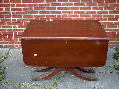 Vintage/Antique Wood Drop Leaf Dining Room Table with Metal Cap Feet