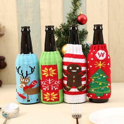 Wine Bottle Cover Bag Knitted Sweater  Gifts Bag Xmas Tree Bar Room Decor New W