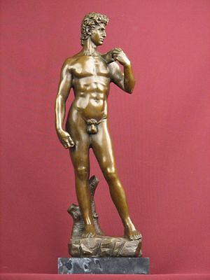 Signed Bronze Statue Nude David Classic Mythology Sculpture On Marble Base
