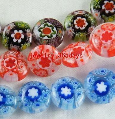 50pcs Millefiori Glass Mixed Flat Spacers 12x4mm no red P4