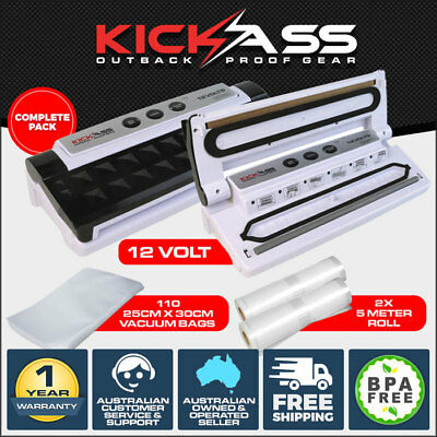 KICKASS 12V VACUUM SEALER FOOD STORAGE CRYOVAC INCLUDES 100 BAGS + 2 x 5M ROLLS