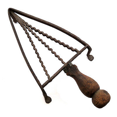 Antique Forged Iron Primitive Trivet Cooling Stand Sad Iron w/ Wood Handle