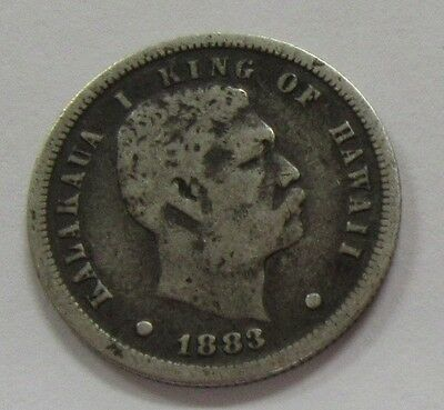 1883 Kalakaua King of Hawaii Silver Dime 10 Cents - Original Patina!