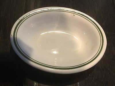 Vintage Trenle vitrified China green striped small oval dish