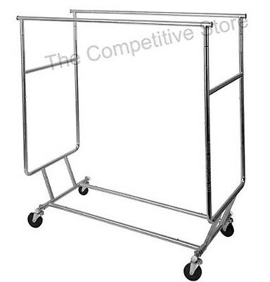 Professional Grade Collapsable Rolling Rack With Double Hangrail Garment Rack