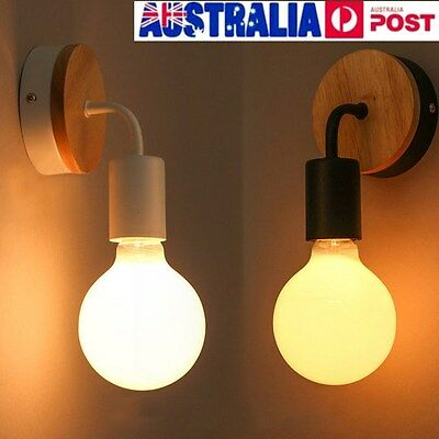 Modern Industrial White Black Wall Lamp Light Wood Base Cafe Sconce Home Decor