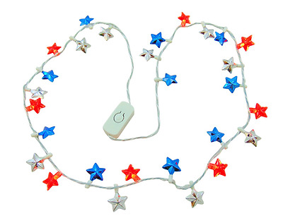 4th of July Flashing Light Up Star Bead Patriotic Necklace with USA