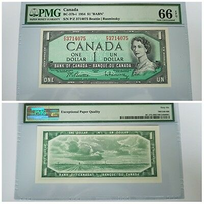 1954 Canada Canadian $1 One Dollar  Banknote Bank of Canada Note Rare PMG66