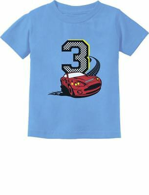 2a917ac9 3rd Birthday 3 Year Old Boy Race Car Party Toddler Kids T-Shirt Three year