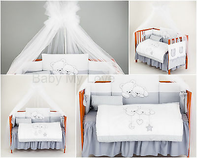 LUXURY 5 pc NURSERY BABY BEDDING SET/bumper/covers/Canopy BABY COT or COT BED