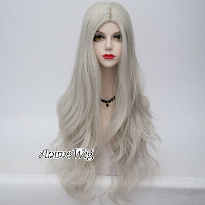 Lolita Lady Silver White 80cm Long Wavy Hair Fashion Party Synthetic Cosplay Wig