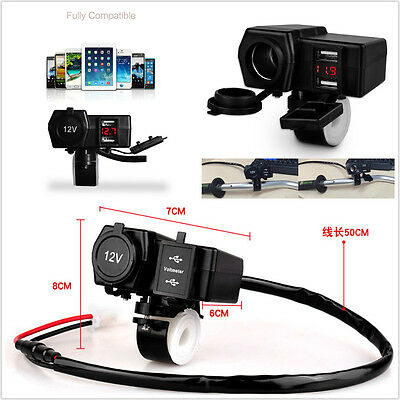 12V Waterproof Motorcycle Phone GPS Power Socket USB Charger Voltmeter For Honda