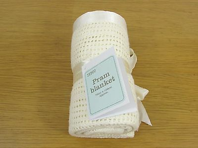 Cream Cellular Pram Blanket - 75 x 100 cm - Tesco -100% Cotton Satin Edge -Moses
