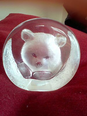 mats jonasson BEAR CUB PAPERWEIGHT SIGNED WITH LABEL 3332