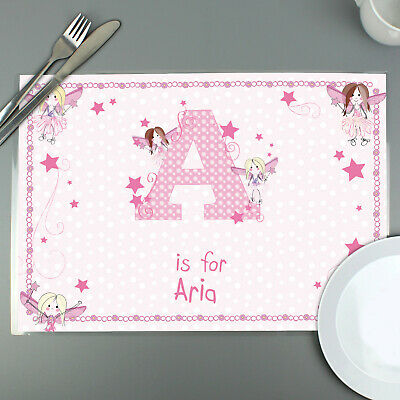 PERSONALISED Childrens Placemat - Fairy. Girls PINK Table Saver. Childs, Kids