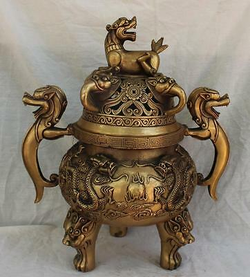 Collectible Chinese ancient Bless peace Copper Dragon & Tiger Incense Burner