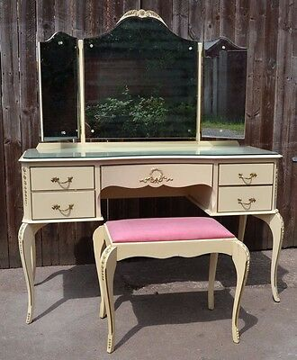 Gorgeous French Louis XVI Style Dressing Table + Stool Vintage Cream Shabby Chic