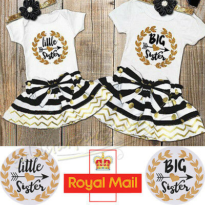 UK Baby Kids Girl Sister Matching Cotton Clothes T-shirt Romper Dress Outfits