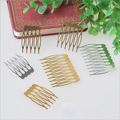Wholesale 10Pcs Silver Gold Plated Metal Combs Clip Pin Hair Accessories
