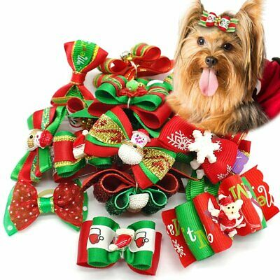 50x Christmas Dog Pet Cat Puppy Hair Bows W/Rubber Bands Grooming Accessories