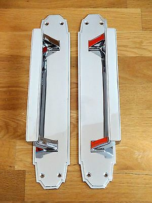 "4th PAIR LARGE 15"" CHROME ART DECO DOOR PULL HANDLES PLATES KNOBS PUSH"
