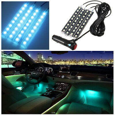 4-in1 4x9 LED Blue Charge Interior Accessories Foot Car Decorative Light Lamps