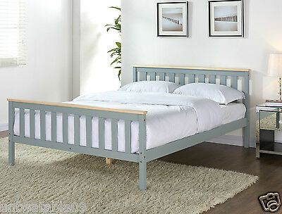 Grey Wooden Bed Frame Pine Double King Single Size Solid Pine and with Mattress