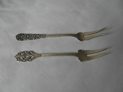 2 antique solid silver pickle forks