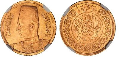046) Egypt NGC MS65 Gold Coin 1938 Twenty Piastre King Farouk Royal Wedding