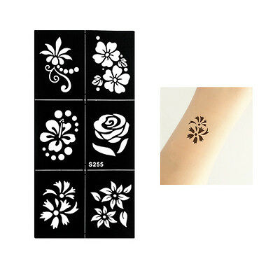 Henna Flowers Rose  Arm Hands Stencils Templates Body Art Painting Black