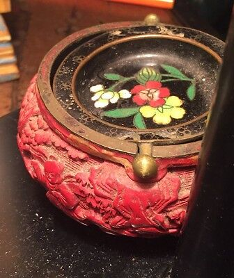 Old Chinese Antique Red Cinnabar Black Floral Cloisonné Swivel-Top Bowl