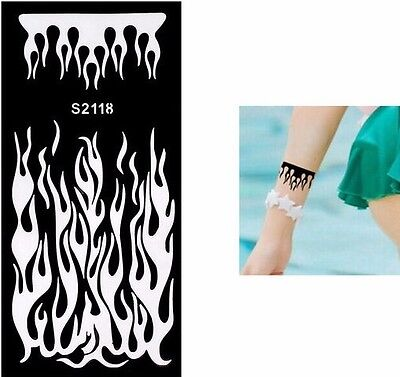 Henna Flame Fire Arm Black Hands Art Stencils Templates Body Painting