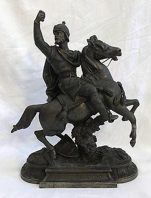Antique Spelter Statue Soldier Warrior On Horse GUILLAUME LE CONQUERANT