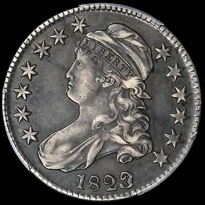 1823 50c Capped Bust Half Dollar PCGS XF40 Patched 3 O-101a