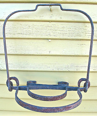 VERY RARE 19th C. WROUGHT IRON HANGING FIREPLACE HEARTH POT HOLDER -- COOKING --