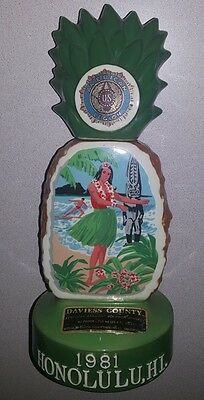 Vtg 1981 HONOLULU AMERICAN LEGION Whiskey Decanter ~ Pineapple Hula Surfer Tiki