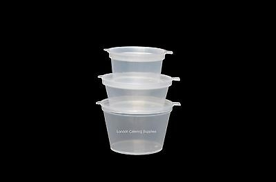 Clear Hinged Lid Plastic Sauce Containers Pot Re-usable