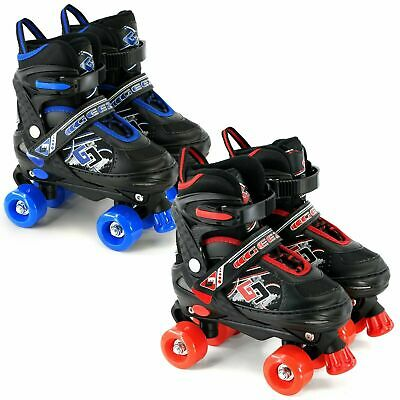 Childs Junior Adjustable Quad Roller Skates Boots Childrens Kids 4 Wheel Rollers
