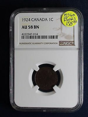 1924 Canada small One Cent NGC AU58 BN KEY DATE 1C Coin PRICED TO SELL!