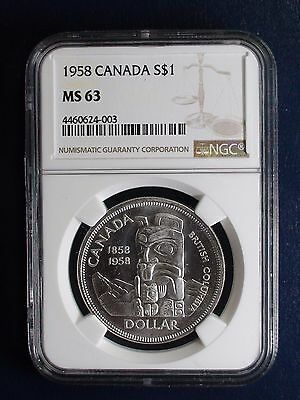 1958 Canada Silver Dollar NGC MS63 TOTEM POLE $1 Coin PRICED TO SELL RIGHT NOW!