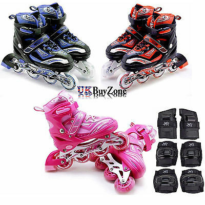 Kids Boys Girls 4 Wheel Adjustable Size Inline Skates Roller Blades Boots