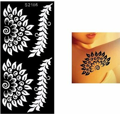 Black Henna Lace Sun Flower Hands Art Stencils Airbrushing Body Makeup Painting
