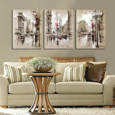 3pcs No Framed Canvas Prints Painting Home Bedroom Art Wall Picture City-L