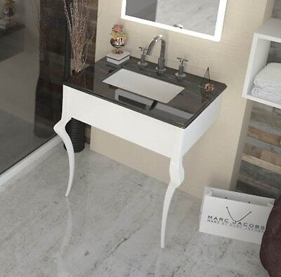 Victorian 3TH Marble top Washstand CONSOLE Sink Unit with-out Tap Black & White