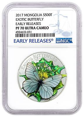 2017 Mongolia - Silver 500 Togrog - Exotic Butterfly - PF70 UC ER - NGC Coin