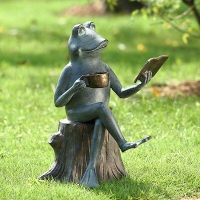 Reading Frog On Tree Stump Metal Garden Pool Pond Sculpture Statue Walden Pond