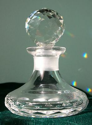 Crystal Glass Vintage Perfume Bottle with Fancy Stopper in Great Condition